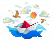 Paper Ship Swimming In Sea Waves, Origami Folded Toy Boat Floating In The Ocean With Beautiful Sceni poster