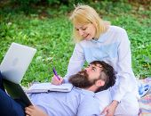 Balance Freelance And Family Life. Man And Girl Work Laptop. Build Business With Your Spouse. Share  poster