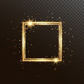 Glowing Square Frame With Glitter Sparkle And Stars. Christmas Shining Background. Gold Luxury Frame poster