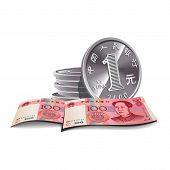 Yuan banknotes and coins vector illustration, financial theme