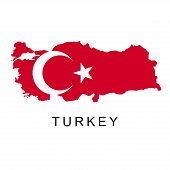 Territory Of Turkey. Flag Of Turkey. Turkey - Middle East. White Background. Vector Illustration poster
