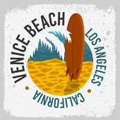 Venice Beach California Surfing Surf Design With A Surf Board On The Beach And Palm Leaf  Logo Sign  poster