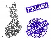Best Service Collage Of Mosaic Map Of Finland And Blue Rubber Seals. Mosaic Map Of Finland Designed  poster
