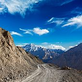 Dirt road in mountains (Himalayas). Spiti Valley,  Himachal Pradesh, India