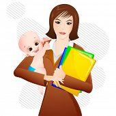 Ilustración de mujer con un bebé en brazos y archivo en otra parte