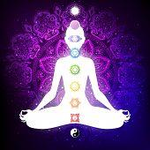 Meditating Woman In Lotus Pose. Yoga Illustration. Colorful 9 Chakras And Aura Glow. Mandala Backgro poster