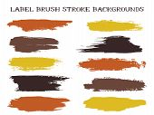 Mottled Label Brush Stroke Backgrounds, Paint Or Ink Smudges Vector For Tags And Stamps Design. Pain poster