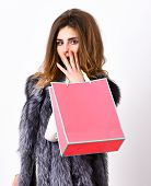 Girl Makeup Face Long Hairstyle Wear Fur Vest White Background. Shopping Concept. Woman Shopping Lux poster
