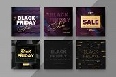 Black Friday Modern Promotion Square Web Banner For Social Media Mobile Apps. Elegant Sale And Disco poster