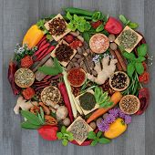 Spice and herb food seasoning collection with fresh and dried spices and herbs forming a circle on r poster