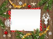Holiday Christmas Card With Fir Tree And Festive Decorations Balls, Stars, Snowflakes And Deer On Wo poster