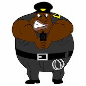 afro American police officer with gun