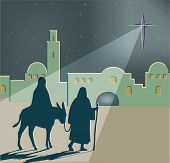 A Vector Illustration Of Mary On A Donkey Led By Joseph On Their Travels To Bethlehem, With A Large  poster