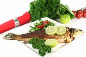 stock photo of brook trout  - roasted trout miller with parsley salad with - JPG
