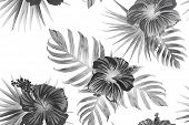 Black White Exotic Pattern. Monstera And Hibiscus Flowers Tropical Bouquet.  Hawaiian T-shirt And Sw poster