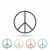 Peace Sign Icon Isolated On White Background. Hippie Symbol Of Peace. Set Elements In Colored Icons. poster