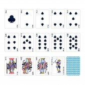 Full Set Of Clubs Suit Playing Cards With Joker Isolated On White poster