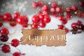 Burnt Label, Snow, Snowflakes, English Text Happy 2019 poster
