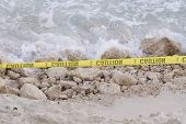 Caution On Beach