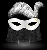 stock photo of mummer  - on an black background is a carnival white half mask decorated with veil and feathers - JPG