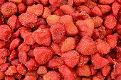 Close Up Of Dried Strawberries Texture Background (food Preservation) poster