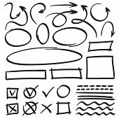 Sketch Arrows And Frames. Hand Drawn Circle, Oval Frame And Arrow Doodles. Cartoon Pointers And Line poster