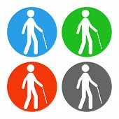 Blind Man With Walking Stick. Vector Icon Set. poster