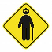 Silhouette Of Blind Person With Sunglasses And Walking Stick. Yellow And Black Rhombus Sign. Vector. poster