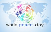 World Peace Day, Background With World Map And Peace Symbol poster