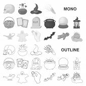 Monochrom And White Magic Monochrom Icons In Set Collection For Design. Attributes And Sorceress Acc poster
