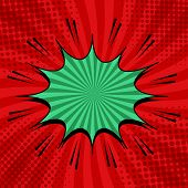 Comic Explosive Bright Concept With Green Speech Bubble Sound Halftone Radial Effects On Red Backgro poster