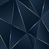 Dark Blue Premium Background With Luxury Polygonal Pattern And Gold Triangle Lines. Low Poly Gradien poster