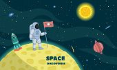 Space Discoveries Concept Background. Flat Illustration Of Space Discoveries Vector Concept Backgrou poster