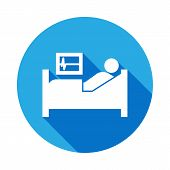 Patient In Hospital Bed Icon With Long Shadow. Element Of Kind Or Way Of Suicide Death Illustration. poster