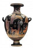 Antiguo jarrón griego aislado en blanco con trazado de recorte
