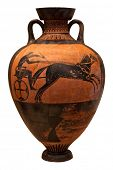 pic of charioteer  - Ancient greek vase depicting a chariot  isolated on white with clipping path - JPG