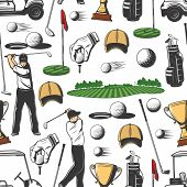 Golf Pattern Background. Vector Seamless Design Of Golf Player With Sport Club Stick, Ball And Hole  poster