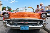 HAVANA-MAY 3: Front view of an old Chevrolet on May 3, 2011 in Havana, Cuba. Cubans keep thousands o