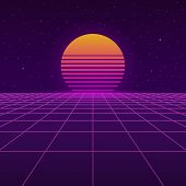 Futuristic Background The 80`s. New Retro Wave. Sunset Sun On Retro Cyber Surface. Vector Illustrati poster