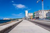 Urban view of Havana with colorful buildings along the Malecon