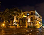 El Templete, the founding site of Havana. illuminated at night