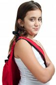 stock photo of sling bag  - Cute  girl with a red backpack isolated on a white background - JPG