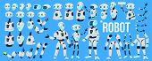 Robot Vector. Animation Set. Mechanism Robot Helper. Cyborgs, Ai Futuristic Humanoid Character. Anim poster