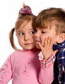 Portrait of emotionally kids. Beautiful caucasian models isolated on white background.