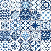 Lisbon Geometric Azulejo Tile Vector Pattern, Portuguese Or Spanish Retro Old Tiles Mosaic, Mediterr poster