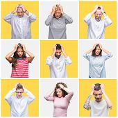 Collage of group of young and senior people over yellow isolated background suffering from headache  poster