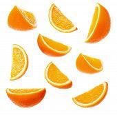 Rodelas de laranja perfeitas coleção, isoladas no fundo branco