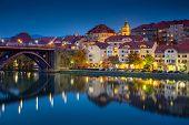 Maribor, Slovenia. Cityscape Image Of Maribor, Slovenia During Autumn Twilight Blue Hour With Reflec poster