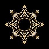 Golden Ornaments Vector Isolated On Black Background, Baroque Ornaments, Scroll Ornaments, Border Ca poster