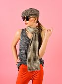 Woman Maintaining Fashion Blog. Hip Hop Girl With Fashionable Hair. Hipster Woman With Fashion Makeu poster